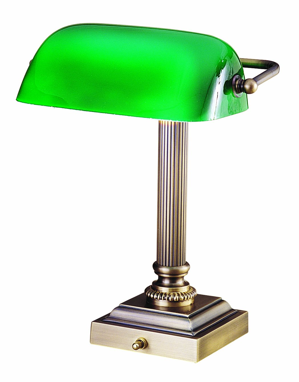 House Of Troy DSK428 G61 Shelburne Collection 13 3/4 Inch Portable Desk Lamp,  Polished Brass With Green Glass Shade   Desk Lamp Clamp On   Amazon.com