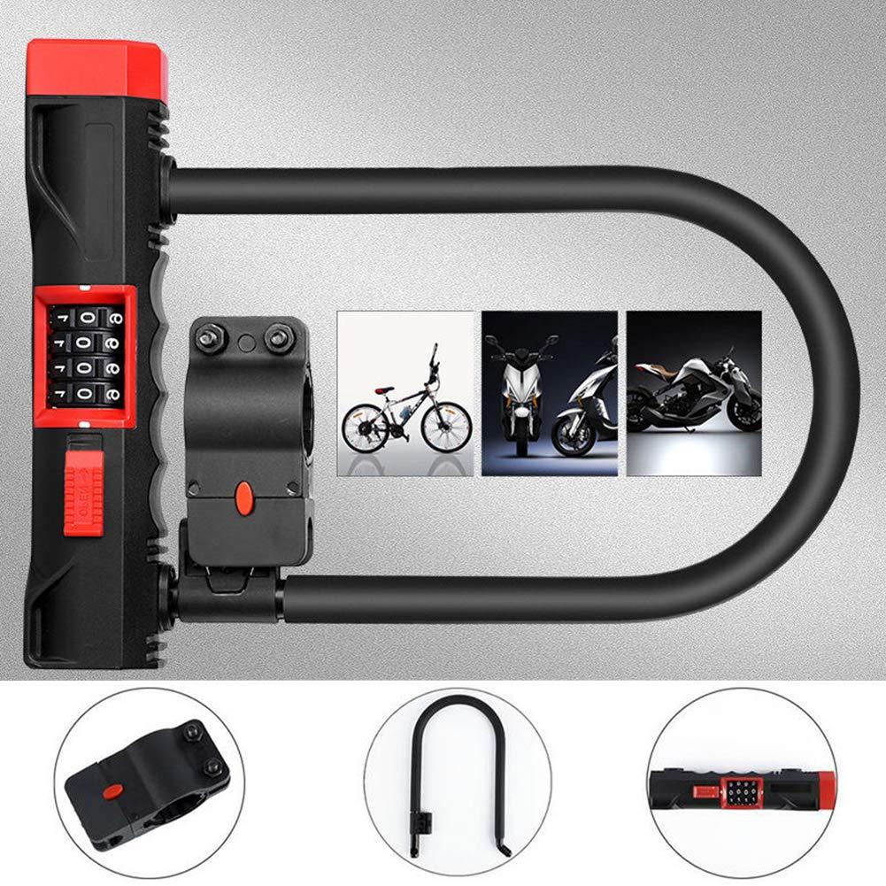 4-Digit Combination Lightweight Bike Chain Lock U-Lock Security Anti-Theft Locks for Bike, Motorcycle, Bicycle, Door