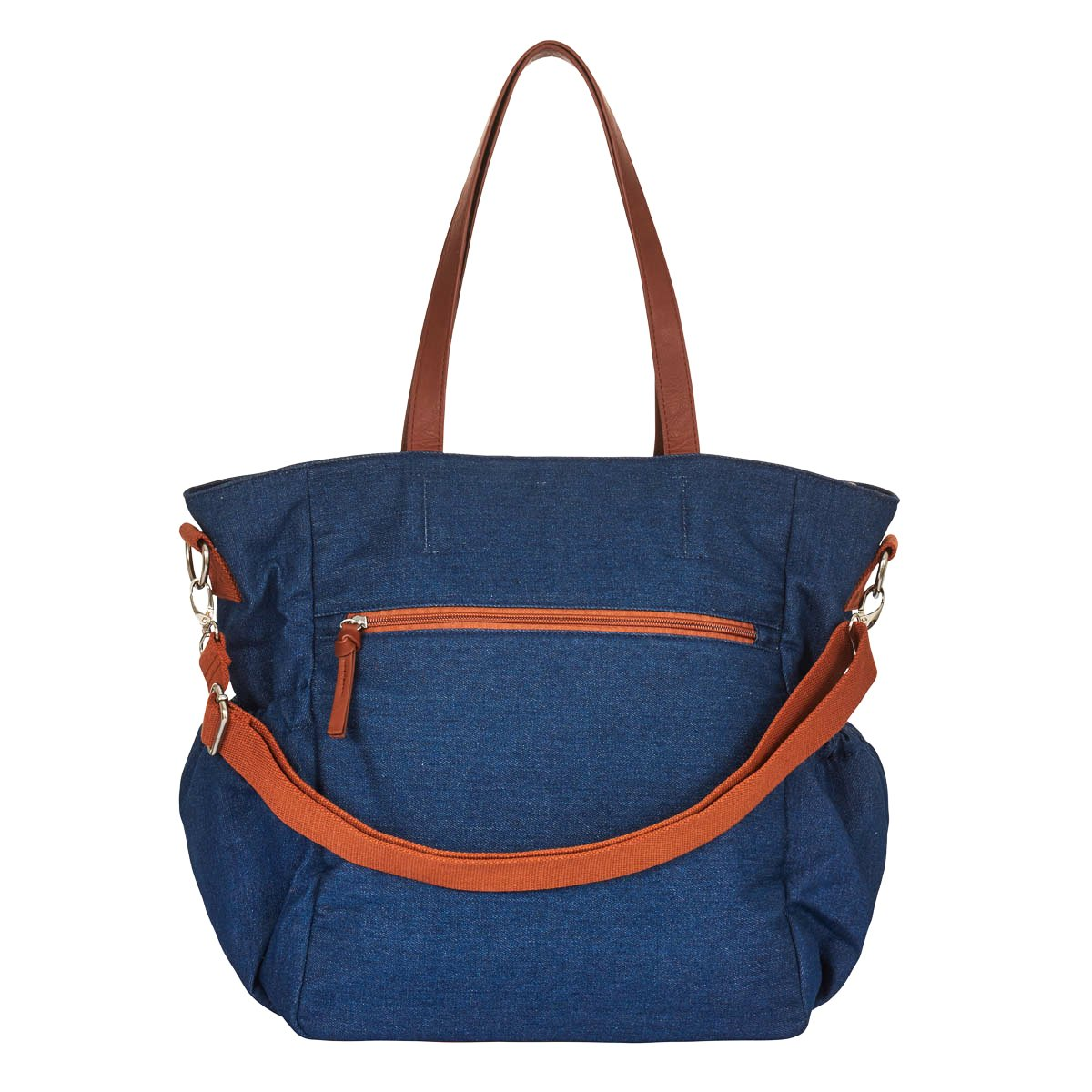 Denim Diaper Bag Tote Large Unisex Stylish Travel Baby Bag by Hip Cub for Mom and Dad with Changing Pad and Stroller Straps