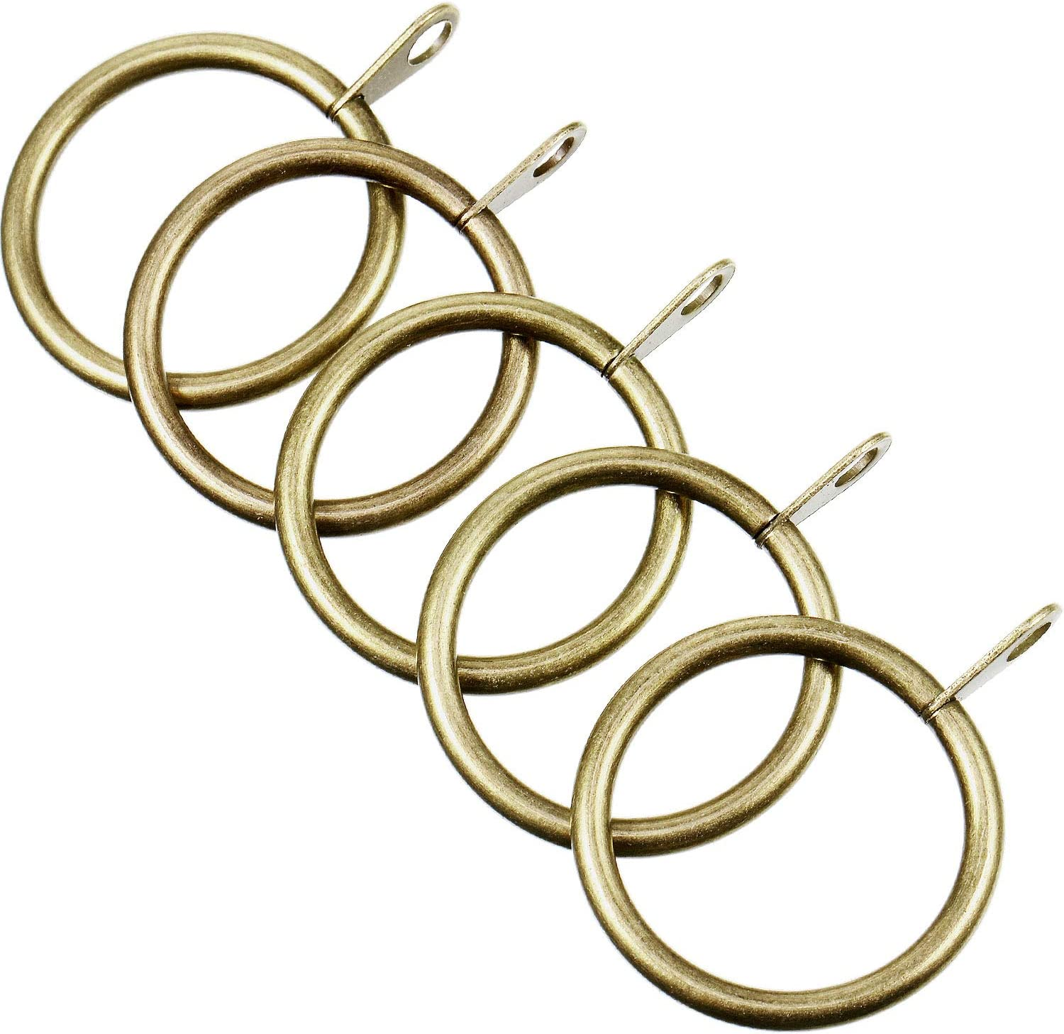 Shappy Metal Drapery Curtain Rings Hanging Rings for Curtains and Rods Green Brass, 20 Pack Drape Sliding Eyelet Rings 30 mm Internal Diameter