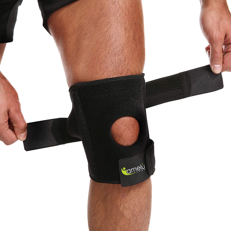 Rodillera ortopédica de rodillas, banda deportiva, crossfit, soporte de 4 varillas laterales elásticas, recuperación postoperatoria, ligamentos, artrosis cruzada para hombre y mujer