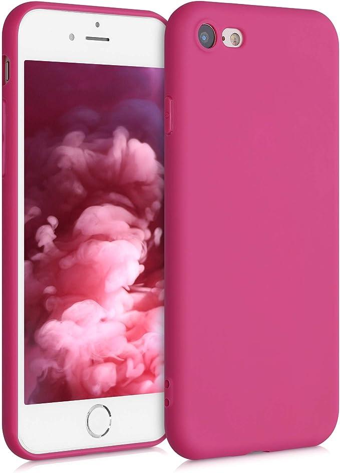 Image ofkwmobile Funda Compatible con Apple iPhone 7/8 / SE (2020) - Carcasa de TPU Silicona - Protector Trasero en Rosa Fucsia Mate