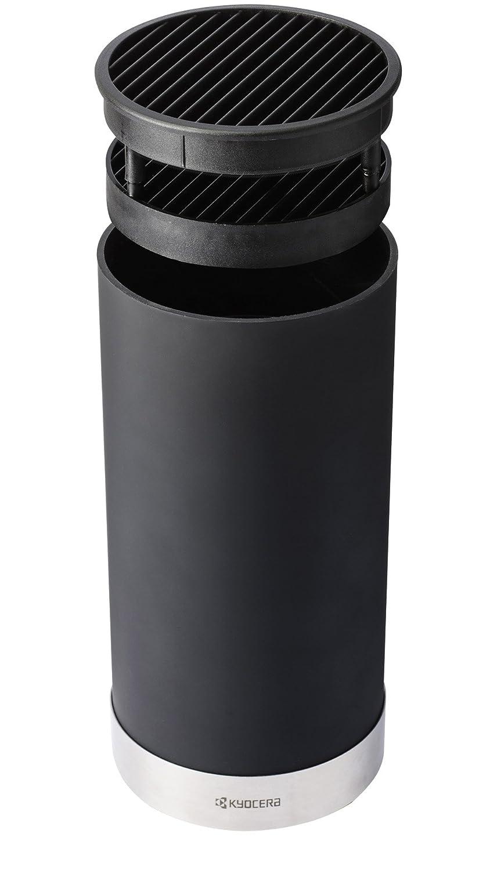 Kunststoff 3-Einheiten inklusive einem Santoku und einem Sch/älmesser Messerblock Keramik 6-8 Messer schwarz 11 x 11 x 22,5 cm Kyocera Runder Edelstahl