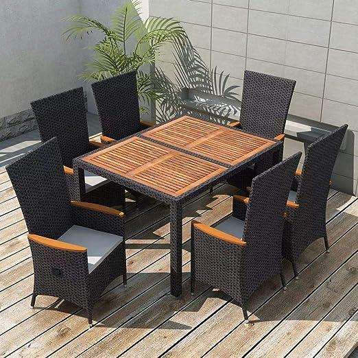 SHENGFENG Set de Comedor de jardín, 13 Piezas, Acero + Ratán PE + Madera de Acacia, Muebles Exterior, Mesa:150 x 90 x 75 cm: Amazon.es: Jardín