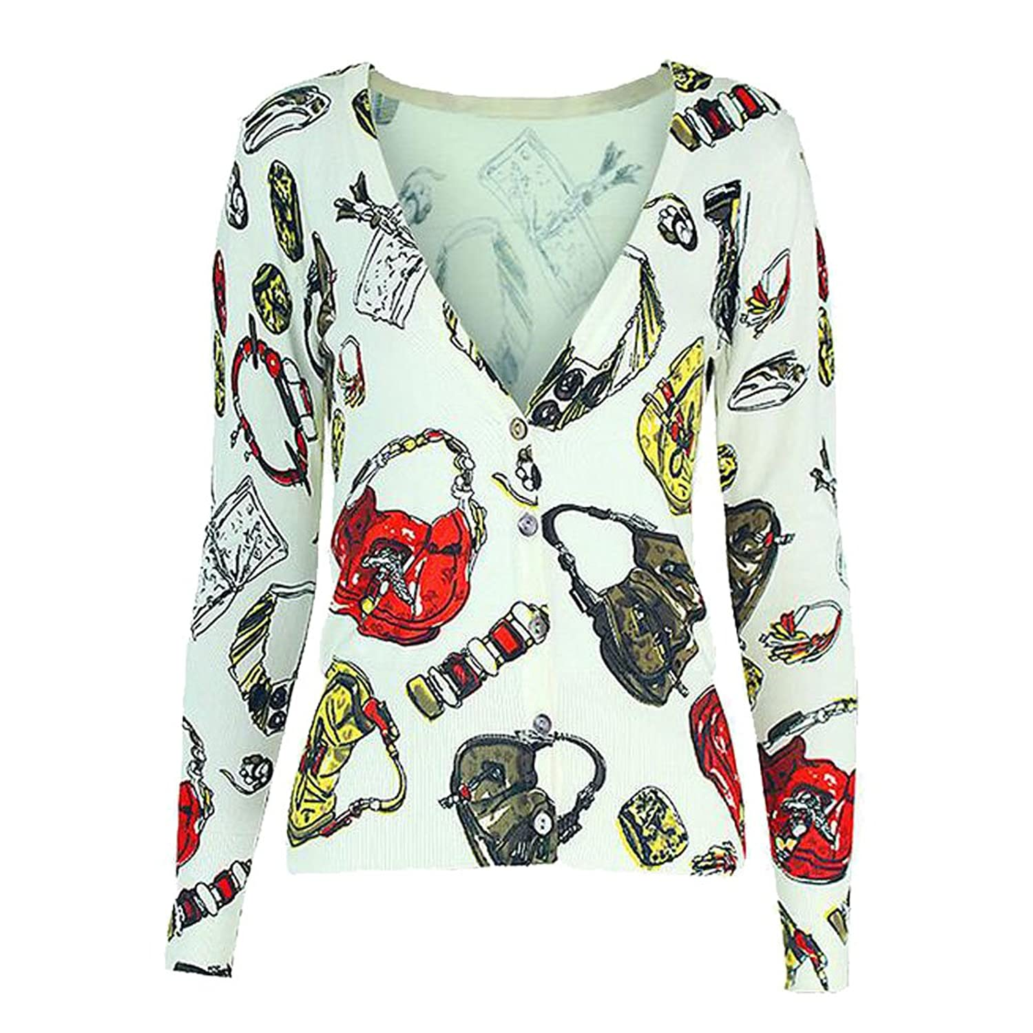 Women's multi-colour artical printing V-neck cardigan sweater