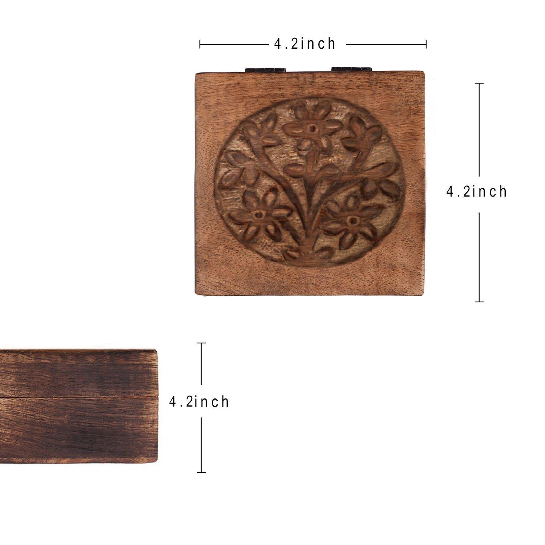 storeindya, Handmade Wooden Jewelry Box Keepsake Storage Organizer Multipurpose Box Treasure Chest Trinket Holder for Women Men Girls Handcarved with Floral Carving