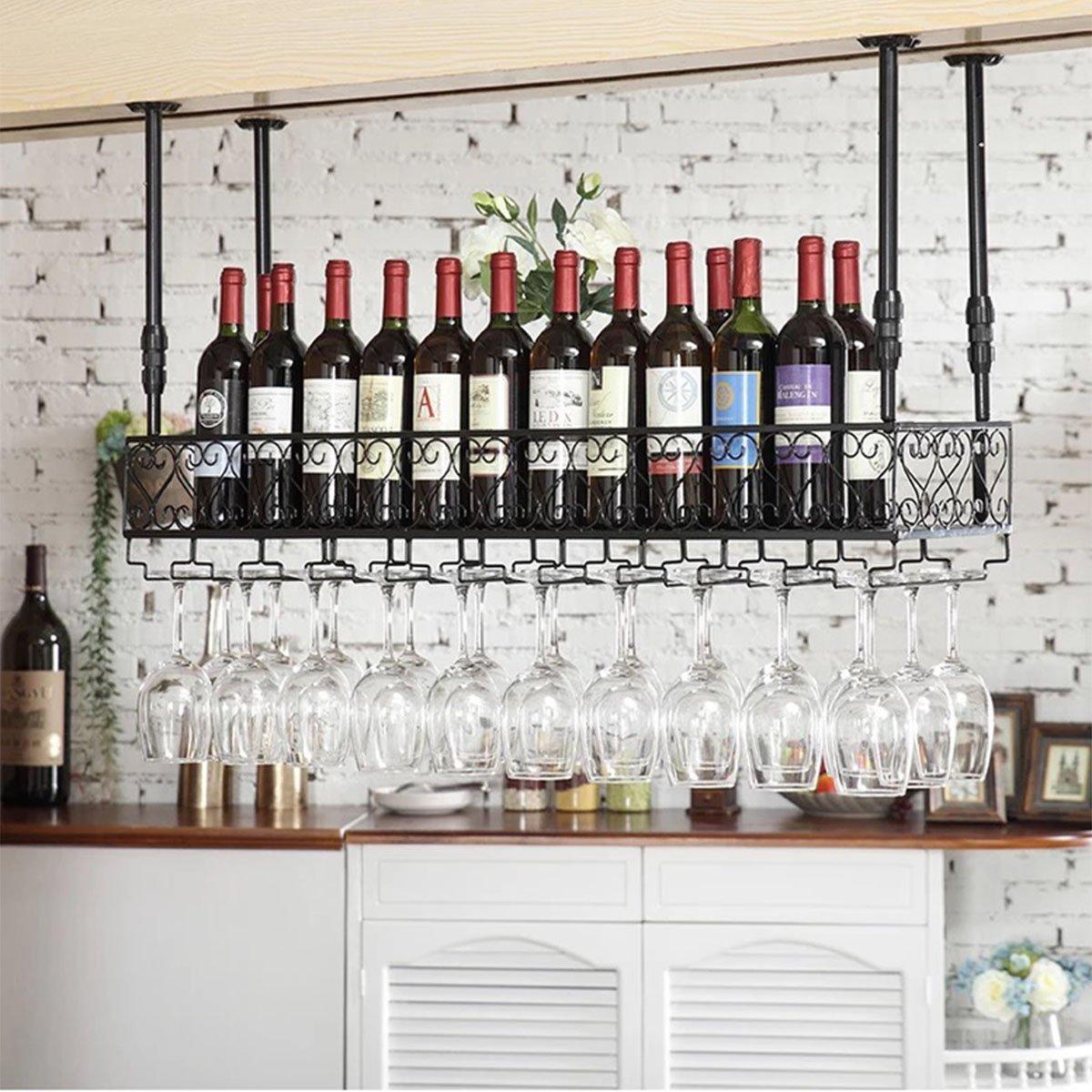 Warm Van Iron Metal Wine Glass Rack Stemware Racks Upside Down Cup Holder Hanging Cup Holder Shelf Shelves 47.2''L (black)