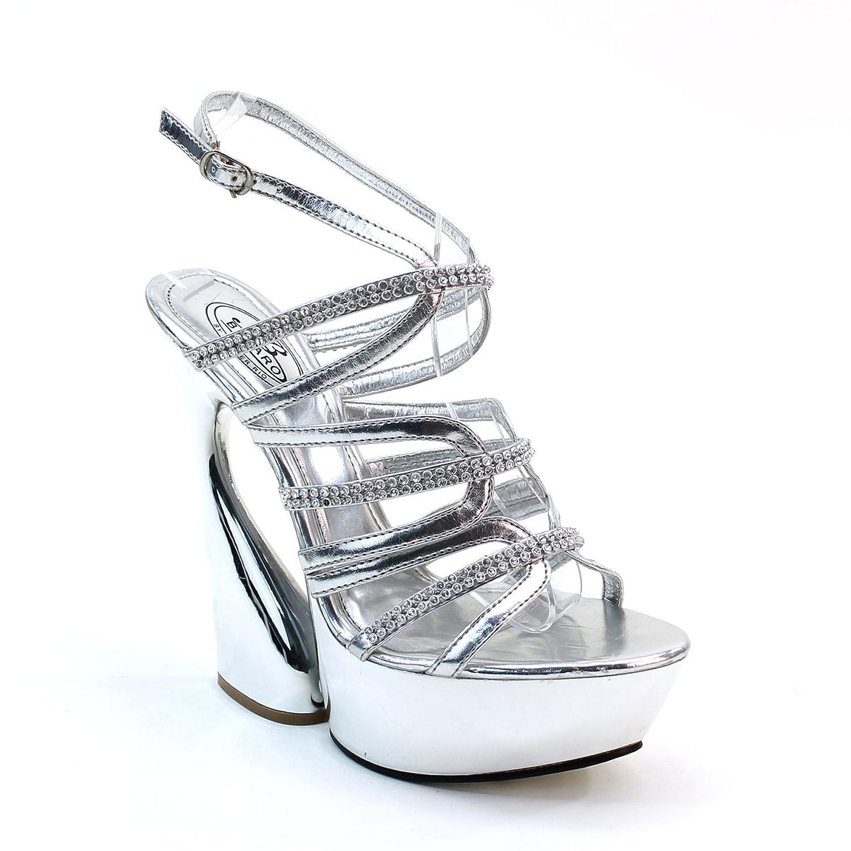 New Brieten Women's Rhinestone Strappy High Chunky Heel Platform Slingback Party Sandals B00GBTJ4N8 8.5 B(M) US