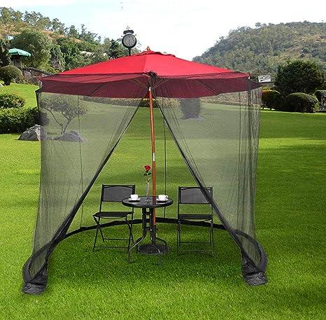 Mosquitera, Pantalla de mesa para sombrilla de jardín al aire libre, Cubierta de sombrilla para patio Carpas para acampar Pantalla de mosquitera con cerramiento de malla de poliéster para sombrilla d: Amazon.es: