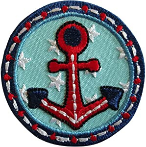 2 Iron-on Appliques Set - Anchor 5X5Cm and Rocket 5X9Cm Embroidered Application Set by TrickyBoo Design Zurich Switzerland