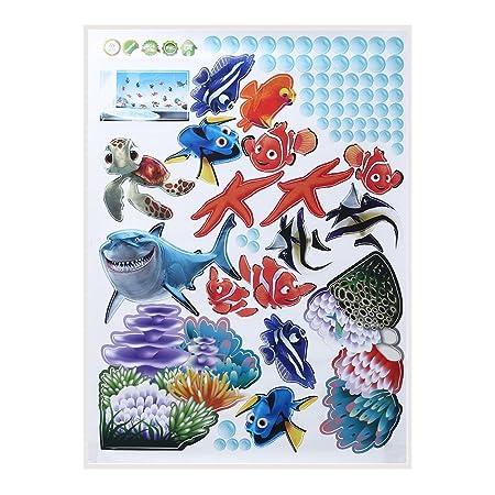 styleinside® Unterwasserwelt Meer Ozean Shark Fisch Wandtattoo Cartoon Türaufkleber Wandsticker Wandaufkleber Tier Aufkleber