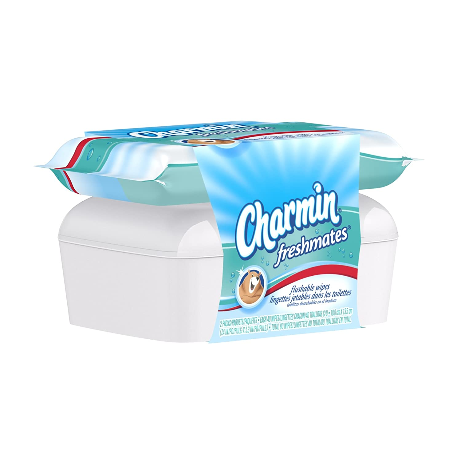 Amazon.com: Charmin Freshmates Flushable Wipes 80 Count - Combo Pack With Refillable Tub; Two 40-Count Refills With Refillable Tub (Pack of 9): Health ...