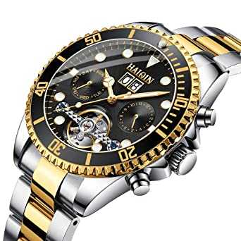 Haiqin Mens Mechanical Watches Automatic Tourbillon Stainless Steel Analog Waterproof Wrist Watch for Men (Black