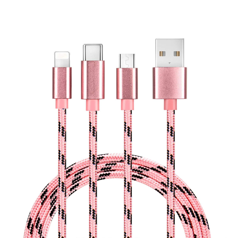Bolatus Multi USB Cable 3 en 1 Cable de Cargador de Nylon Trenzado Micro USB Tipo C y Rel/ámpago Compatible para Phone Pad y Samsung Galaxy Huawei Andriod Oro M/últiple Cable Carga 2Pack 1m