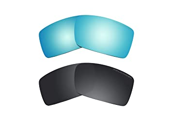 2 pares polarizadas azul y negro lentes de repuesto para Oakley Gascan (Asian Fit)