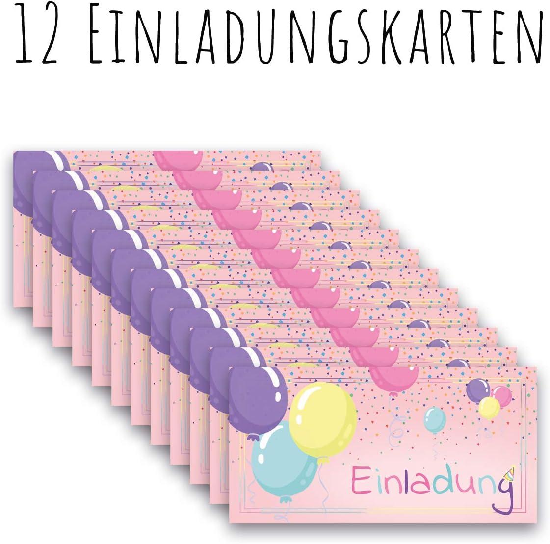 Kindergeburtstag Einladungen Kinder M/ädchen Jungen Geburtstag Karten Feier Party Ballons Any Age Art Luftballons 12 Einladungskarten 12 Einladungskarten