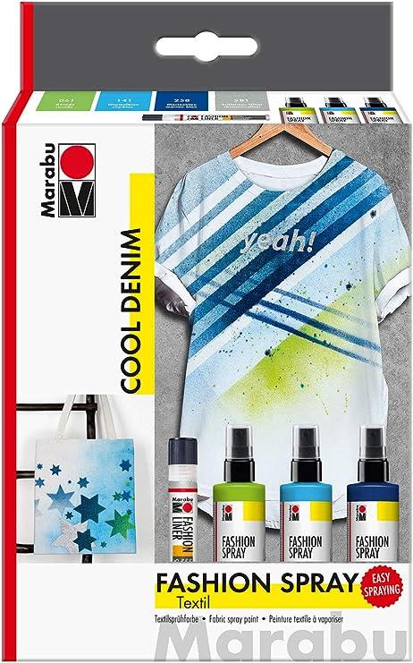 Marabu 1719000000084 Fashion Spray, Cool Denim, pintura textil a base de agua, para textiles claros, fácil fijación, lavable hasta 40 °C, 3 x 100 ml y ...