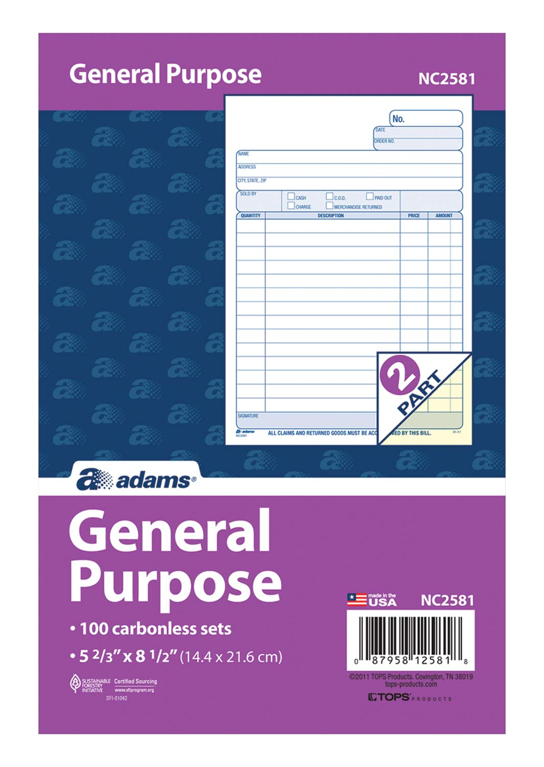 Adams General Purpose Unit Sets, 5.67 x 8.5 Inches, 2-Part, Carbonless, White/Canary, 100 Sets per Pack (NC2581) by Adams (Image #2)