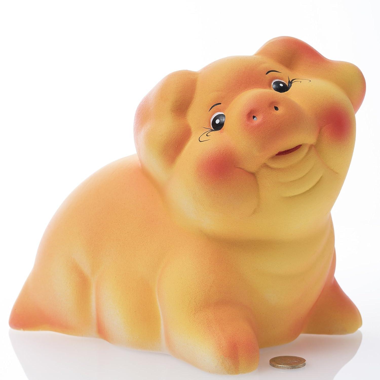 Big mama –  | in ceramica maialino salvadanaio –  lavorata a mano | B/L/H: 16 x 23 x 22 cm | salvadanaio, salvadanaio, arancione Broxon