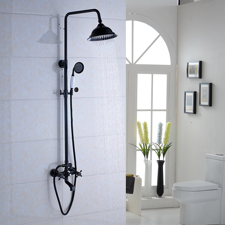Votamuta Wall Mounted Bathroom Rainfall Shower Faucet Set Dual Cross ...