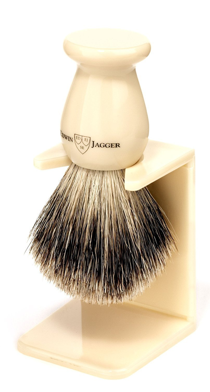 Edwin Jagger 1ej946sds Traditional English Best Badger Hair Shaving Brush Faux Ebony Medium With Drip Stand, Black, Medium 1EJ946SDSAMZ