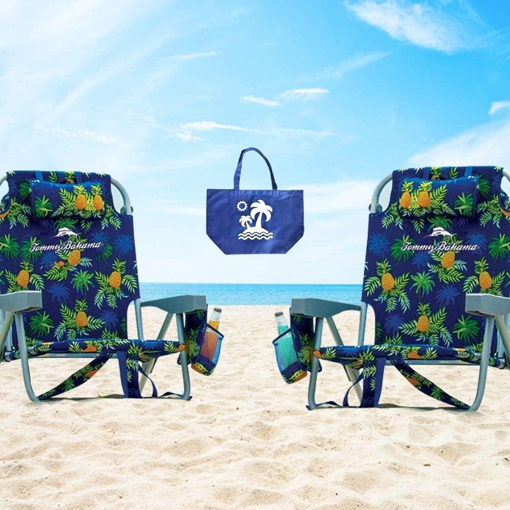 2 PACKTommy Bahama Backpack Beach Folding Deck Chair Blue//Green Stripes 2 PK
