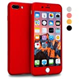 iPhone 7 Plus Case, VANSIN 360 Full Body Protection Hard Slim Case Coated Non Slip Matte Surface with Tempered Glass Screen Protector for Apple iPhone 7 Plus Only (5.5-inch) - Red
