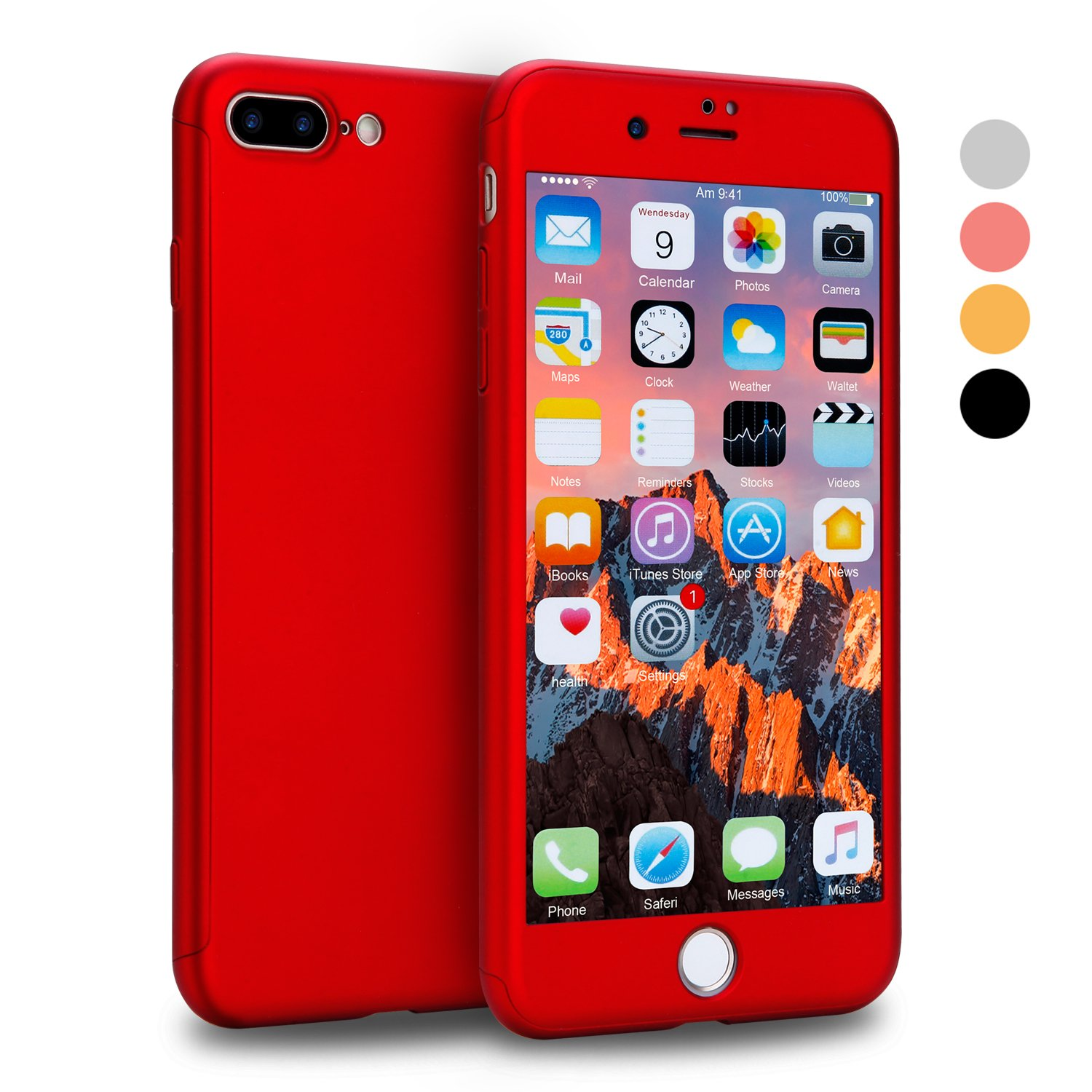 iPhone 7 Plus Case, CANSHN 360 Full Body Protection Hard Slim Case Coated Non Slip Matte Surface with Tempered Glass Screen Protector for Apple iPhone 7 Plus Only (5.5-inch) - Red
