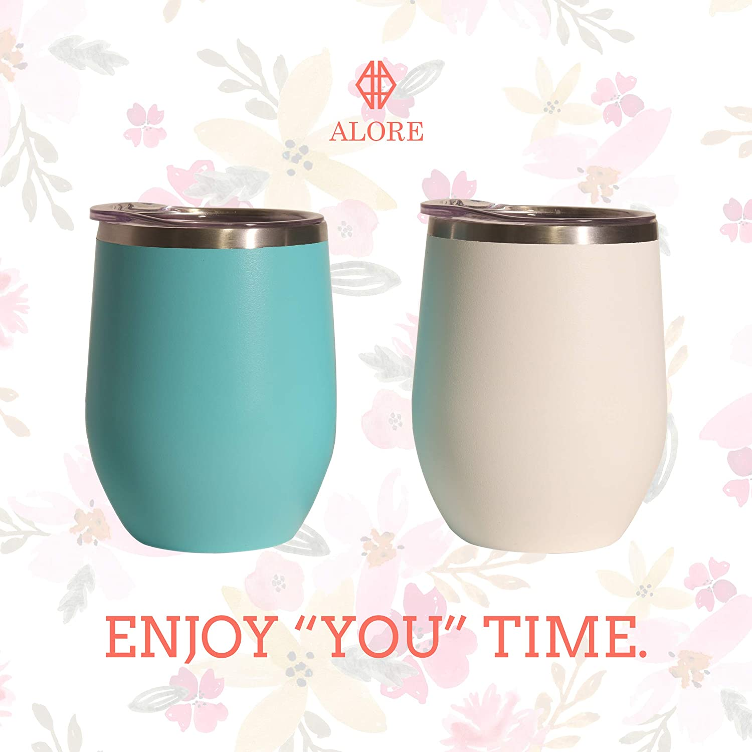 Ice Cream ALORE Wine Tumbler Set of 2 With Lid White and Turquoise 12 oz Stainless Steel Double-Wall Vacuum Insulated Travel Tumbler for Coffee Beer Cocktails Holiday Gift for Her//Him