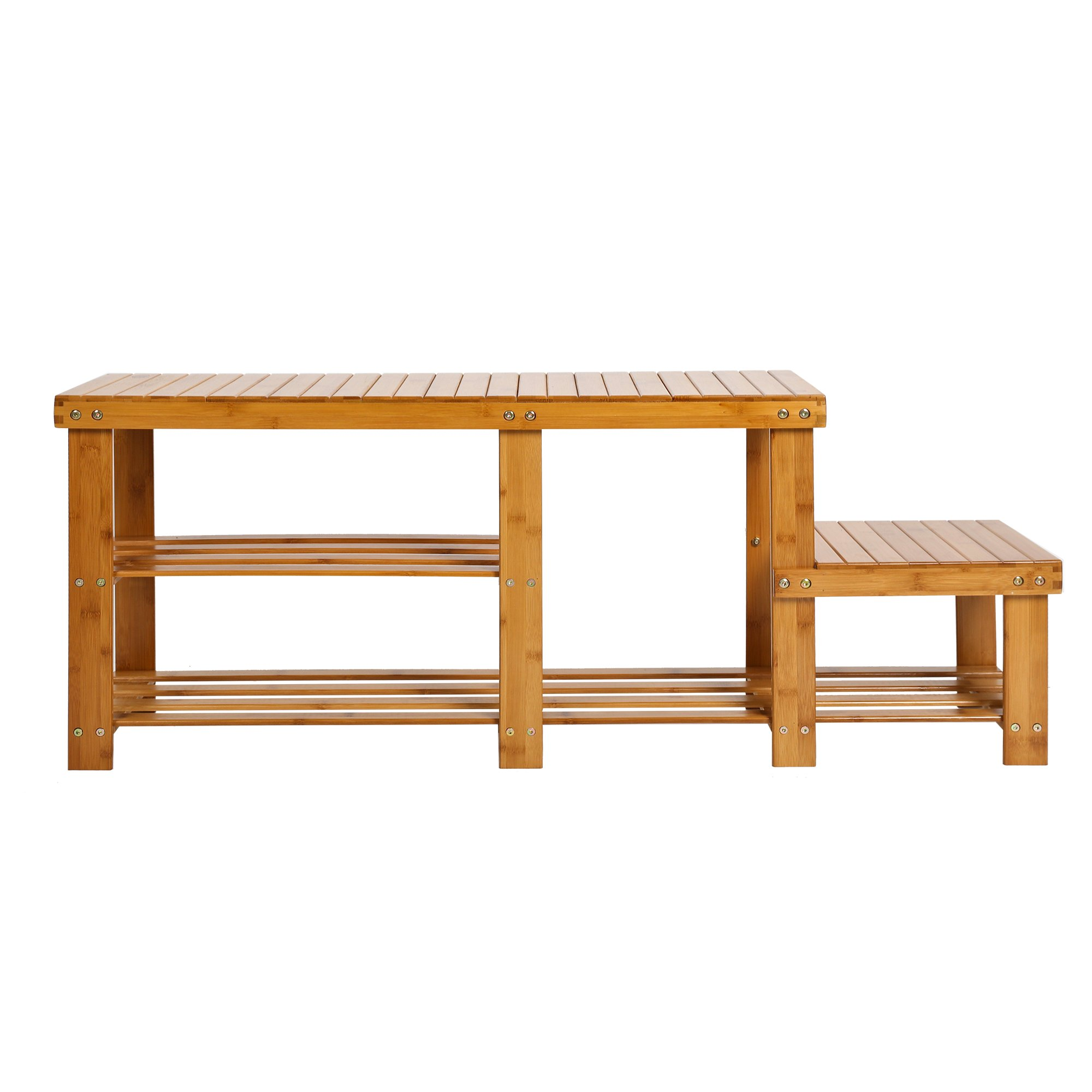 Lucky tree 2-tire Bamboo Shoe Bench for Entryway Boot Rack Storage Shelf with High and Low Levels for Adult and Kid