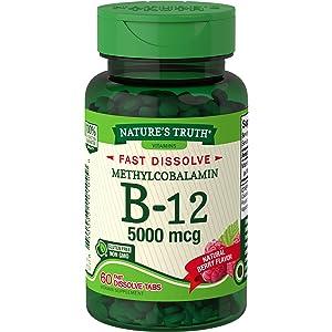 Nature's Truth B12 Vitamin 5000 mcg | 60 Tablets | Fast Dissolve Natural Berry Flavor | Vegetarian, Non-GMO & Gluten Free