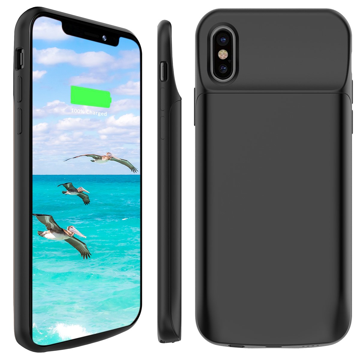 iPhone X Battery Case, Stoon 6000mAh Portable Charger Case Rechargeable Extended Battery Pack Protective Backup Charging Case Cover for Apple iPhone X, iPhone 10 (5.8 Inch) (Black)