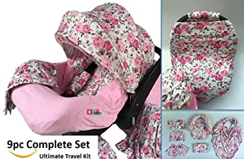 9pc Ultimate Set Of Infant Car Seat Cover Canopy Headrest Blanket Hat Nursing Scarf 25JE01