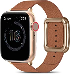 MARGE PLUS Compatible with Apple Watch Bands SE Series 6 5 4 40mm 44mm / Series 3 2 1 38mm 42mm for Men Women, Soft Leather Replacement with Magnetic Clasp for Apple Watch Band - Brown/Rose Gold