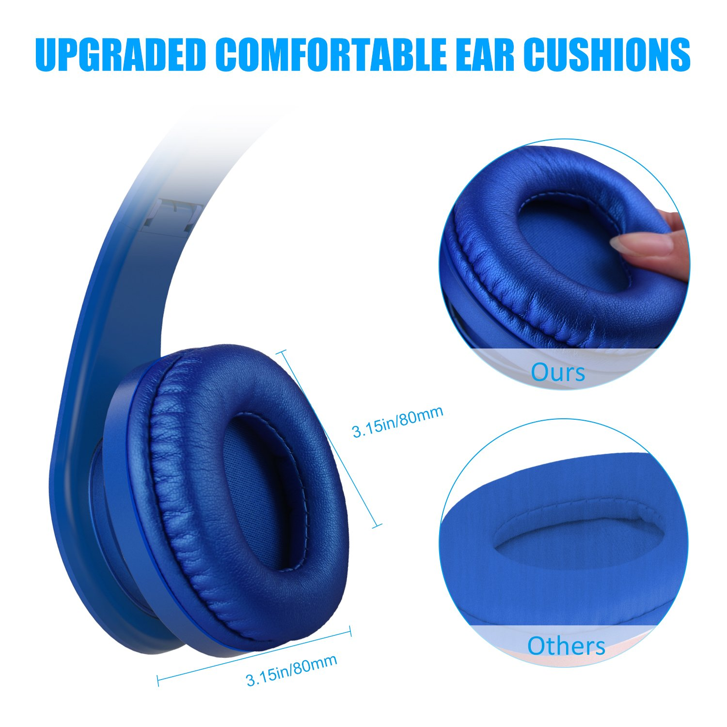 Lobkin Bluetooth Headphones Over Ear,Foldable Headphones with Soft Earmuffs,W/Built-in Mic and Wired Hedphones (Blue)