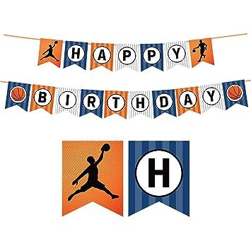 JOYMEMO Baloncesto Feliz cumpleaños Banner Cumpleaños Signo ...