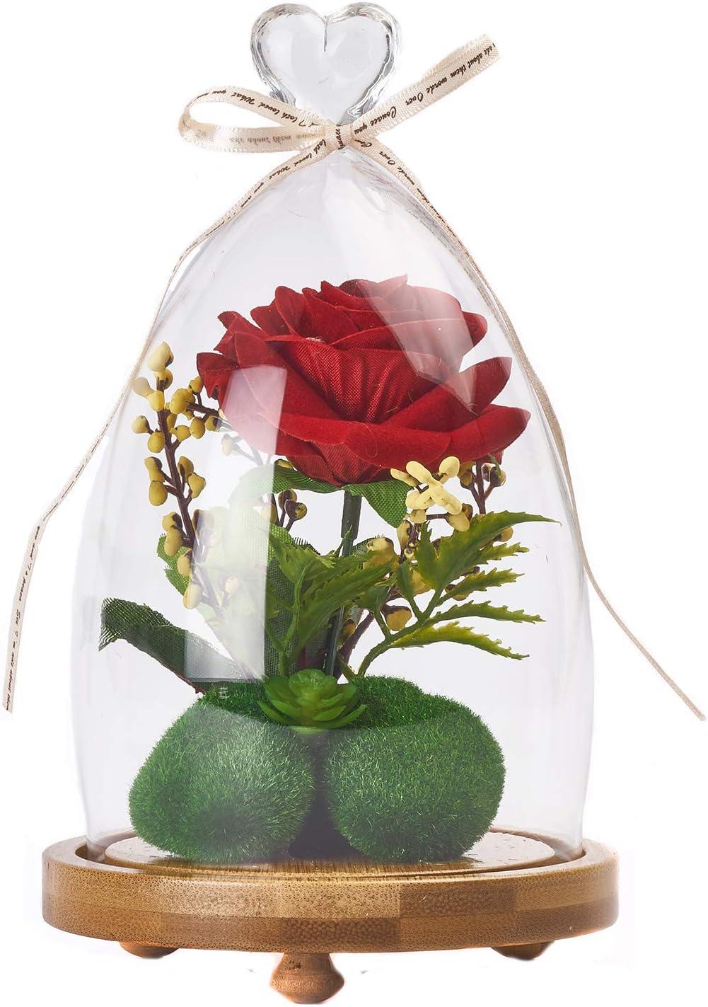INTIGNIS Rosa roja de Seda Artificial en cúpula de Cristal, Regalos para Mujeres, Ella, niñas, Hermana, día de la Madre, día de San Valentín, Aniversario, cumpleaños, Boda