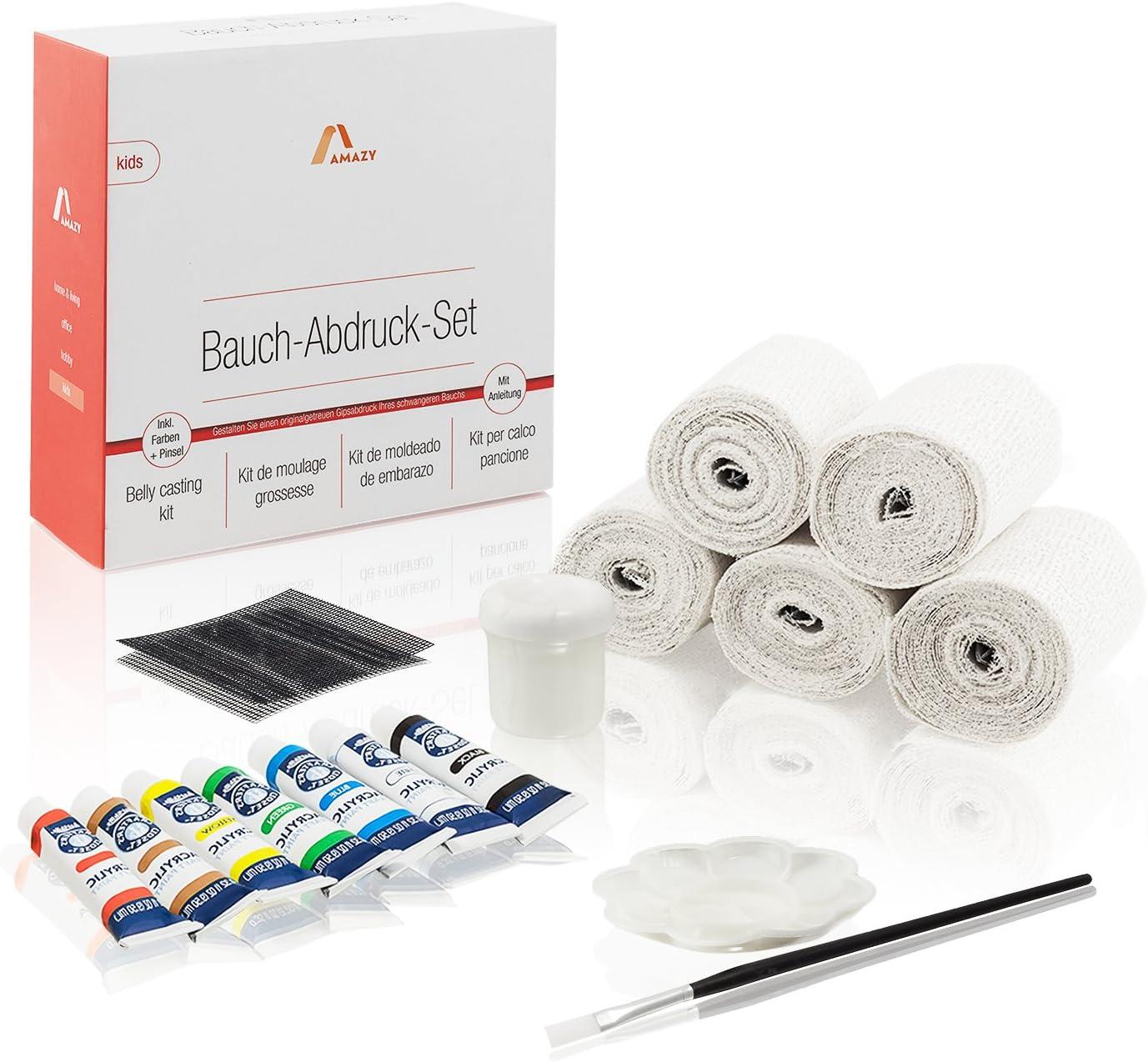 Amazy - Juego de vaporizadores (20 piezas) – Amplio juego para crear una impresión 3D de baby baul – con cintas de yeso, colores, pincel, suspensión, etc.: Amazon.es: Bebé