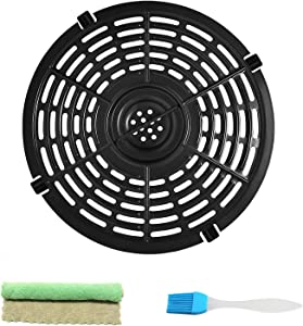 Air Fryer Replacement Grill Pan 5QT Airfryers Non-stick Crisper Plate, Air fryer Grill Plate Fry Pan Accessories with Oil Brush Dishcloth for Kitchen, Dishwasher Safe