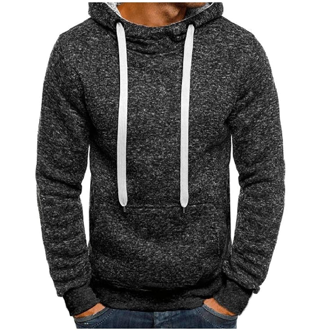 Mfasica Mens Pocket Pullover Lounge Hoodie Drawstring Slim Fleece Sweatshirt