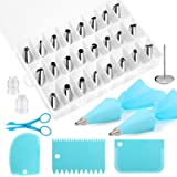 Kincown [NEW UPGRADED]33pcs Cake Decorating Tools Kit,Baking Supplies Set,Piping Tips and Bag Set with 24 Stainless Steel Ici