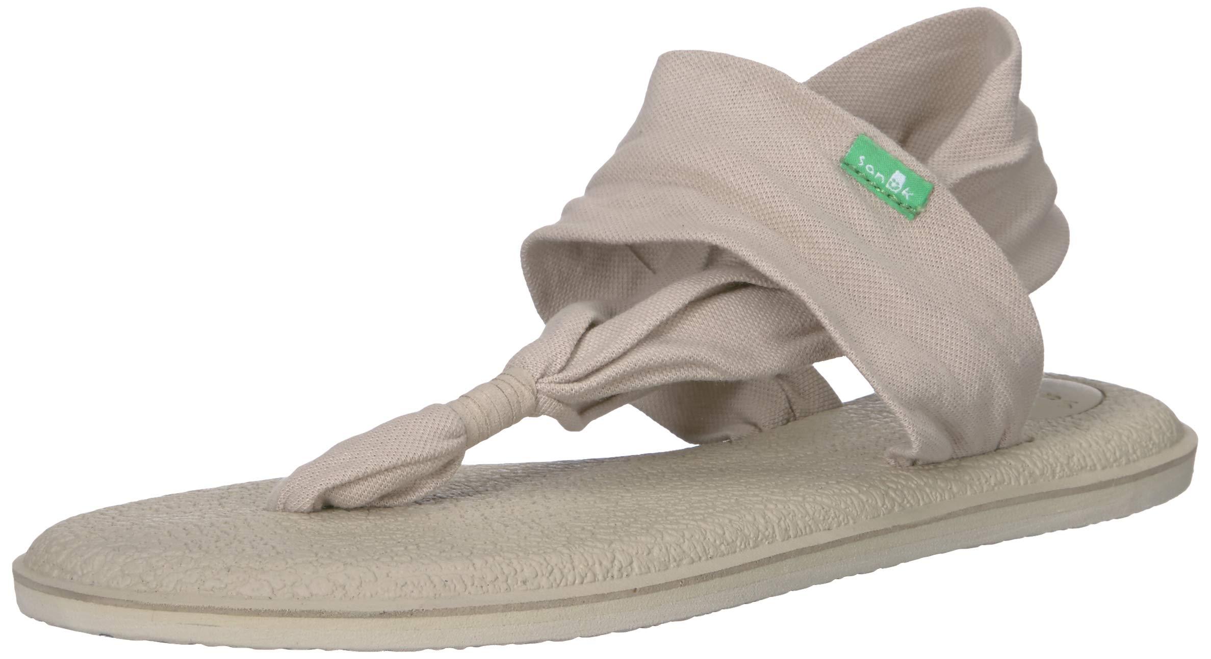 Sanuk Women's Yoga Sling 2 LX Flat Sandal, Peyote/Metallic Champagne, 06 M US