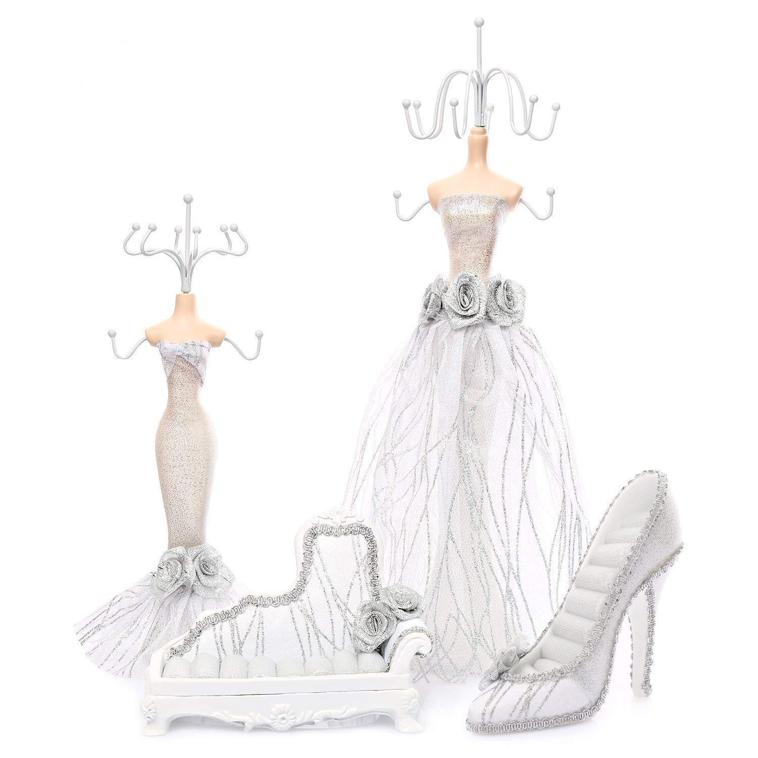 Coraltea Jewelry Holder Hanging Necklace Earring Bracelet Rings Orgaziner Shoe Dress Display Stand Set (White)