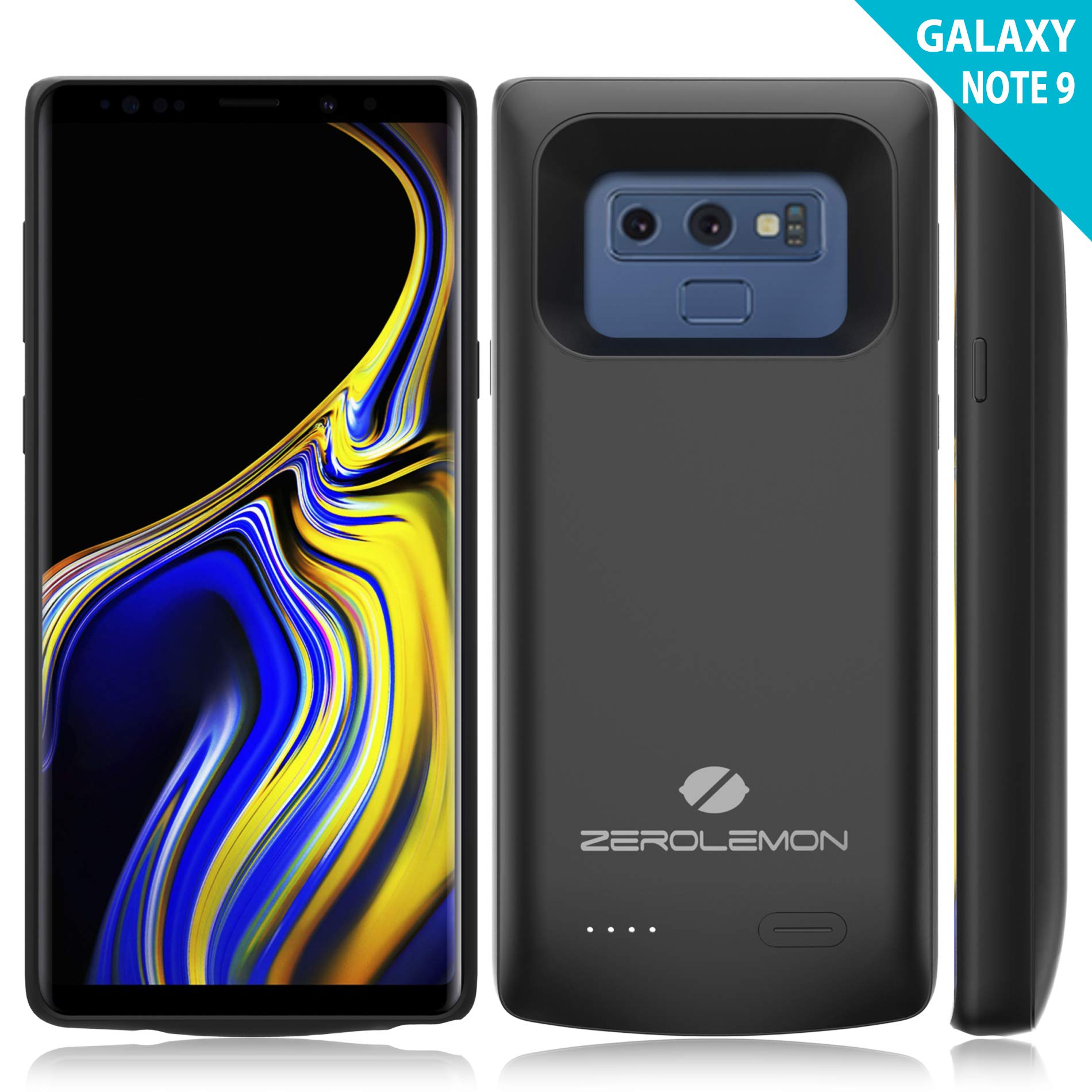 Samsung Galaxy Note 9 Battery Case, ZeroLemon Slim Power Galaxy Note 9 5000mAh Extended Battery with Soft TPU Full Edge Protection Case - Black