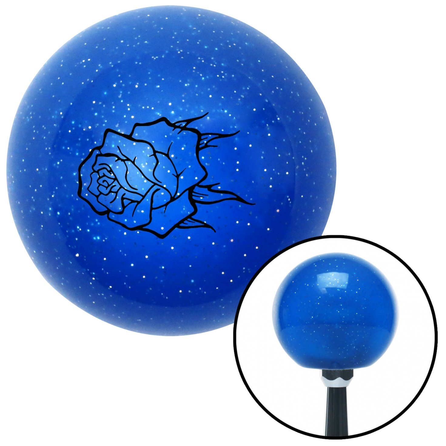 American Shifter 24787 Blue Metal Flake Shift Knob Black Rose w//no Stem