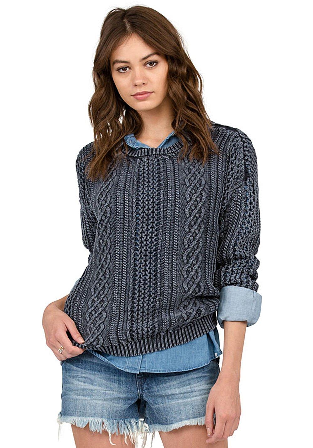 Volcom Damen Mess Round Crew Pulli Pullover Blau Sweatshirt