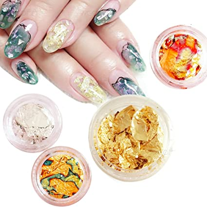 Cattie Girl 4 Boxes Gold Silver Flakes Nail Foil Art Ornaments Aluminum Geode Paper Tin