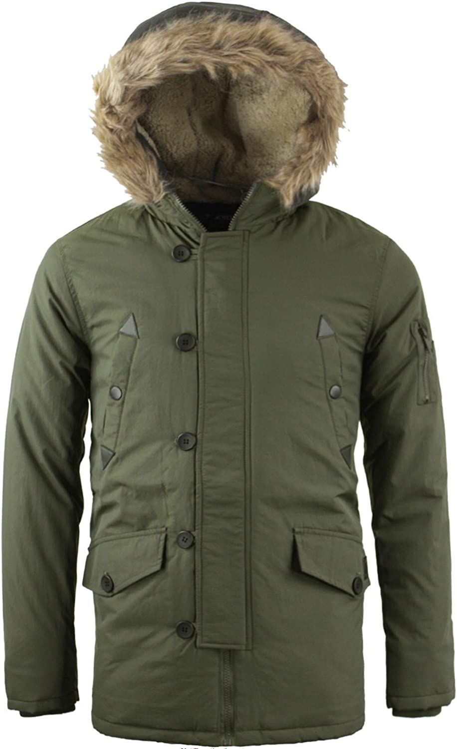 Men/'s Padded Fur Lined Sherpa Hooded Parka Quilted Winter Coat Jacket