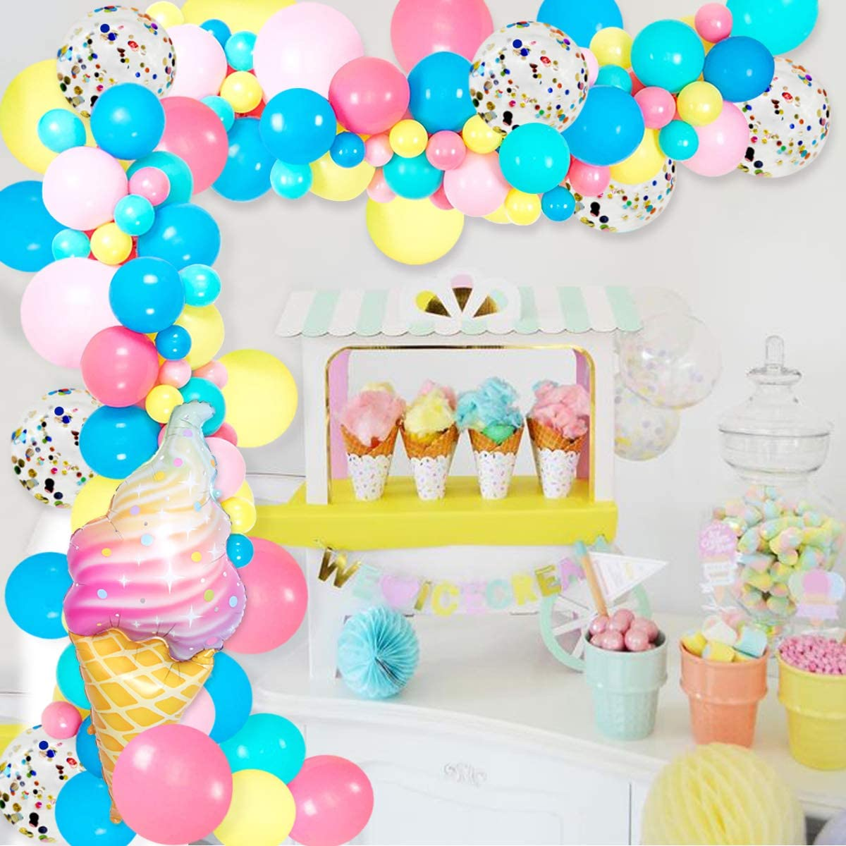 Ice Cream Balloon Garland Arch Kit 110 Pack with Confetti Foil Balloons for Summer Candy Sweet One Two Birthday Party Baby Shower