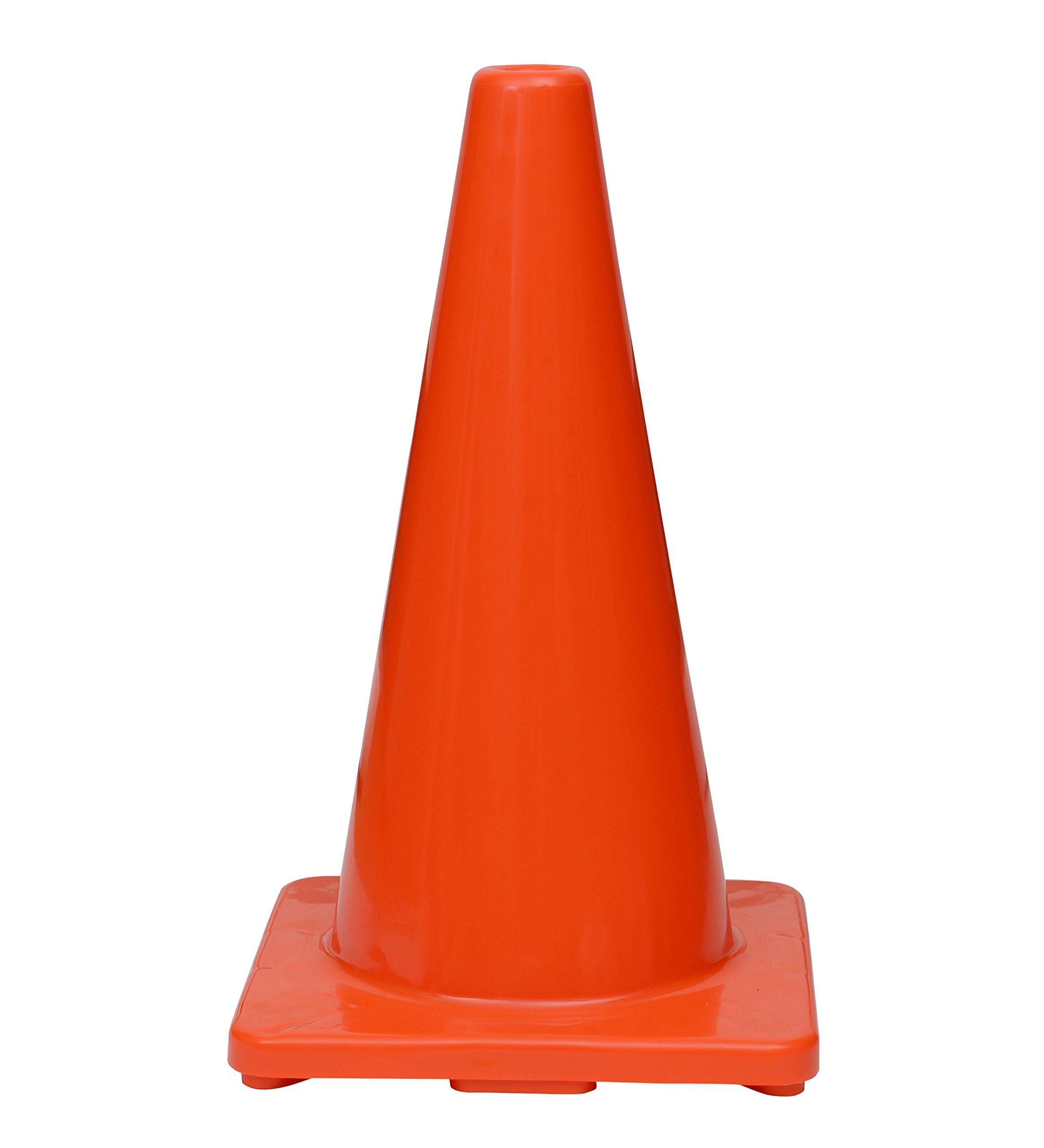(Set of 12) CJ Safety 18'' Orange Premium PVC Safety Cones - No Reflective Collar (12 Cones)